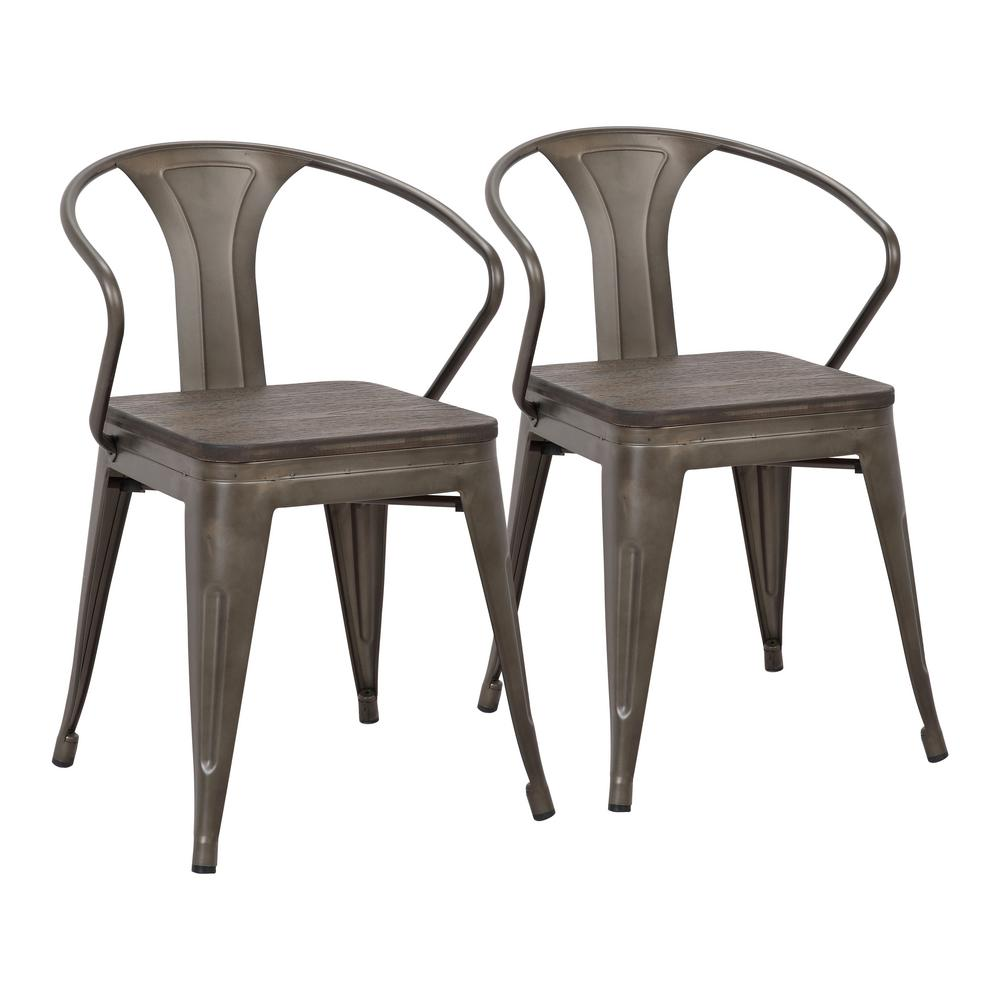 Lumisource Waco Antique Metal and Espresso Wood Seat Dining Chair (Set of 2) - Lumisource Waco Antique Metal And Espresso Wood Seat Dining Chair