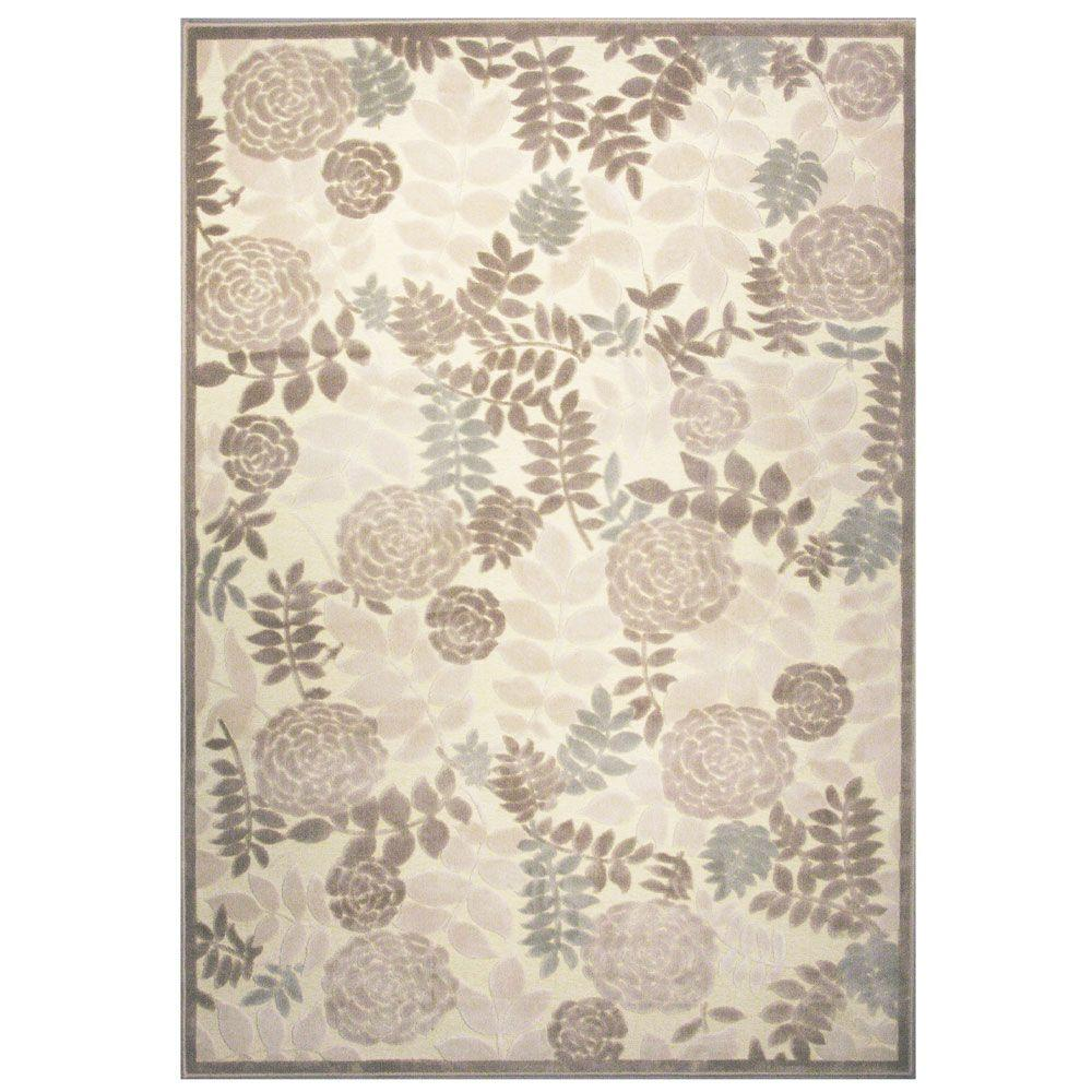 iCustomRug Moon Lily Ivory 3 ft. 2 in. x 5 ft. Area Rug