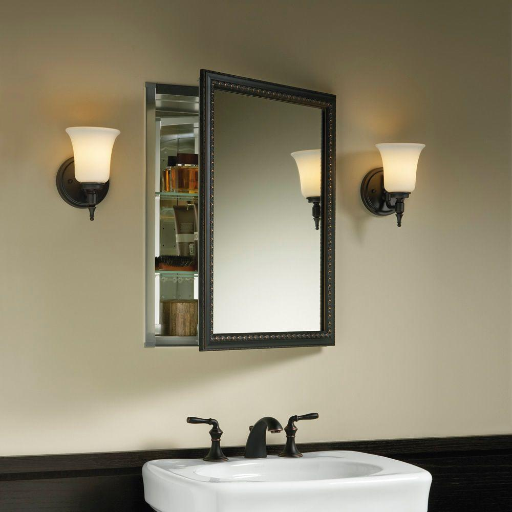 Kohler 20 In X 26 H Recessed Or Surface Mount Mirrored Medicine Cabinet Oil Rubbed Bronze