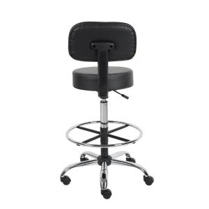 Astounding Boss Black Caressoft Medical Drafting Stool With Back Dailytribune Chair Design For Home Dailytribuneorg