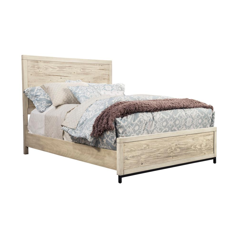 Malibu Distressed White Standard King Panel Bed 2800 07ek The Home Depot