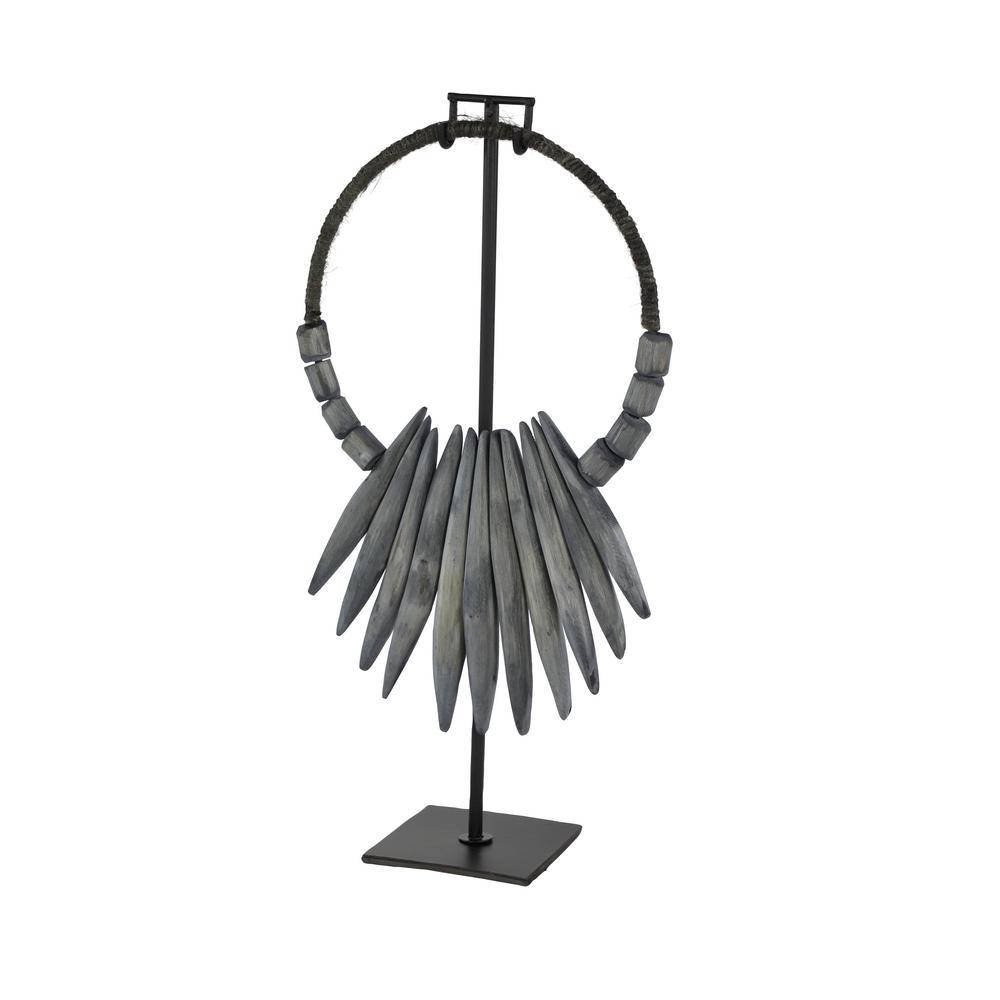 LITTON LANE Gray Tribal Style Reclaimed Wood Sculpture Shelf Decor, 10 in. x 20 in., Grey
