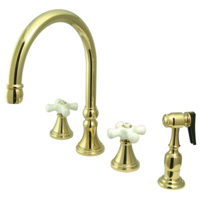 Governor 2-Handle Standard Kitchen Faucet with Side Sprayer in Polished Brass