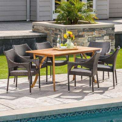 Noble 7-Piece Wood and Wicker Outdoor Dining Set with Stacking Chairs