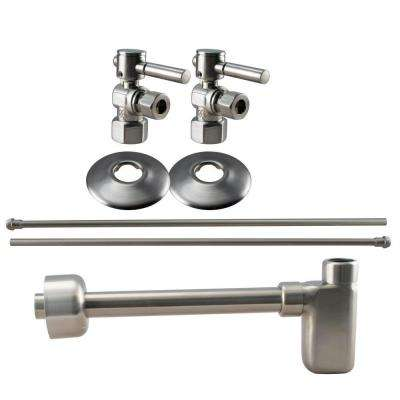 1/2 in. IPS Lever Handle Angle Stop Complete Pedestal Sink Installation Kit in Satin Nickel