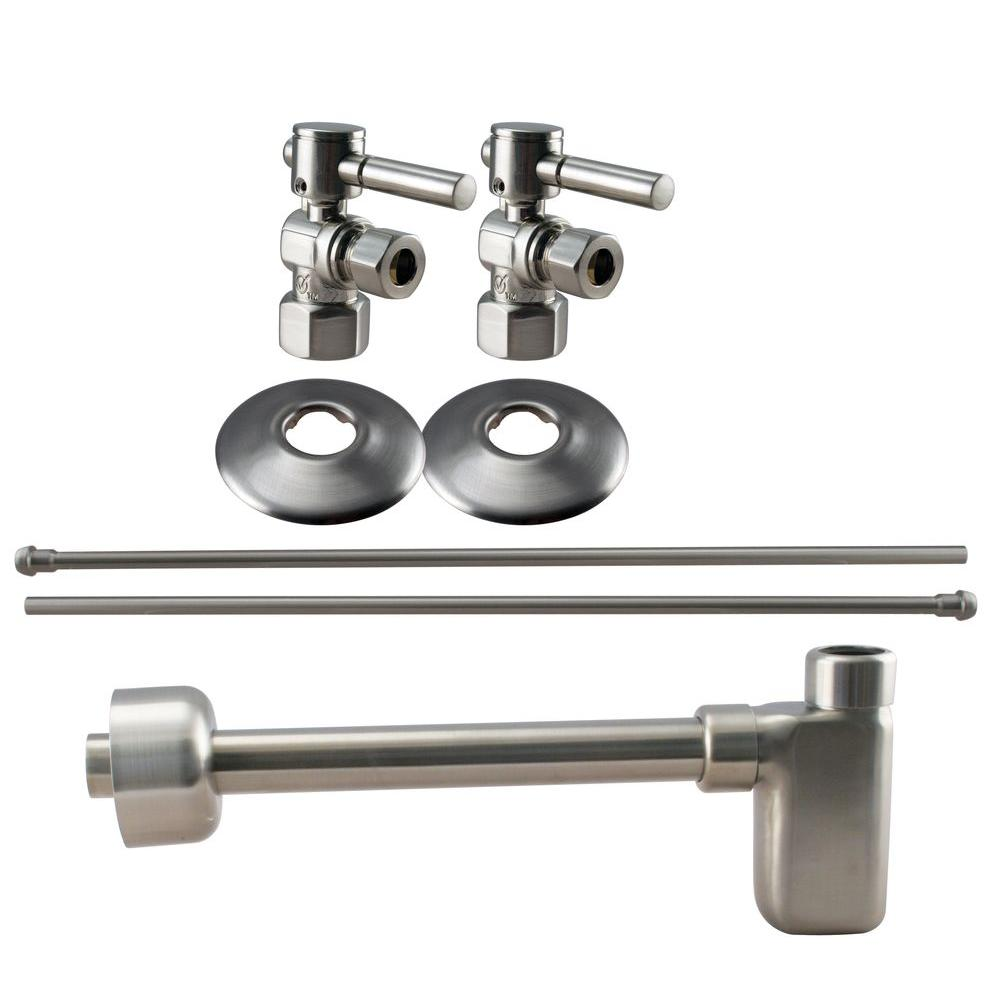 Westbrass 1/2 in. IPS Lever Handle Angle Stop Complete Pedestal Sink Installation Kit in Satin Nickel