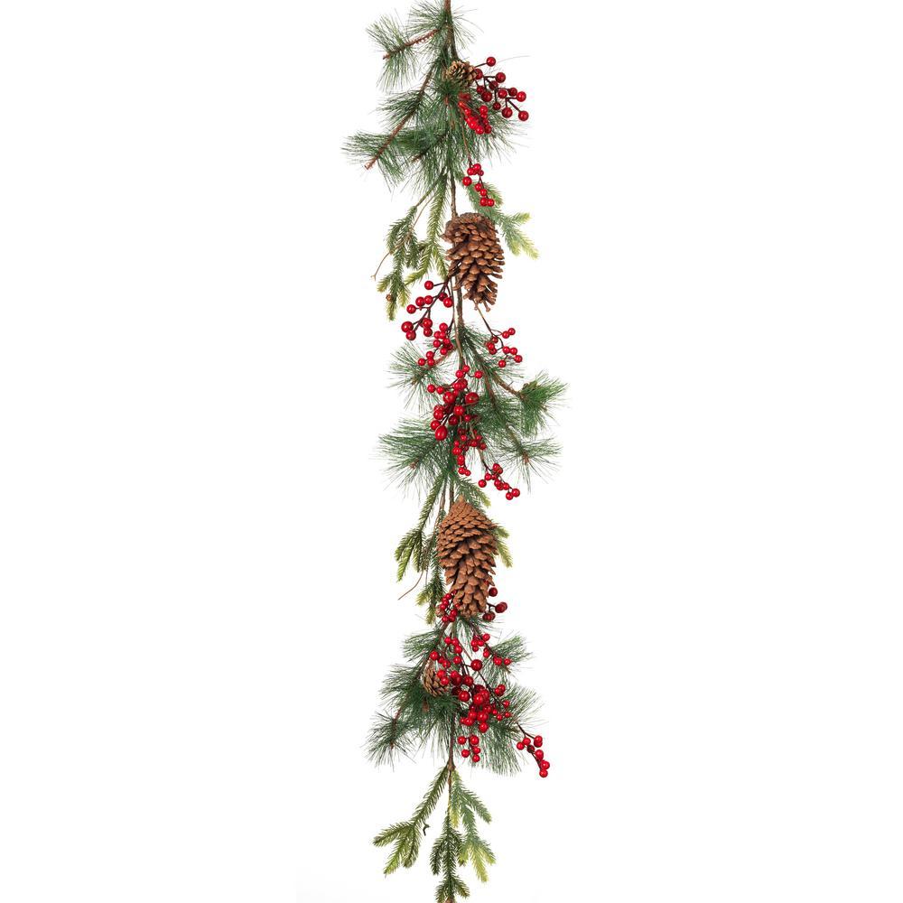 5 ft. L PVC Pine & Berry Garland