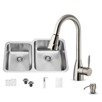 All-in-One Undermount Stainless Steel 32 in. Double Bowl Kitchen Sink Set in Stainless Steel