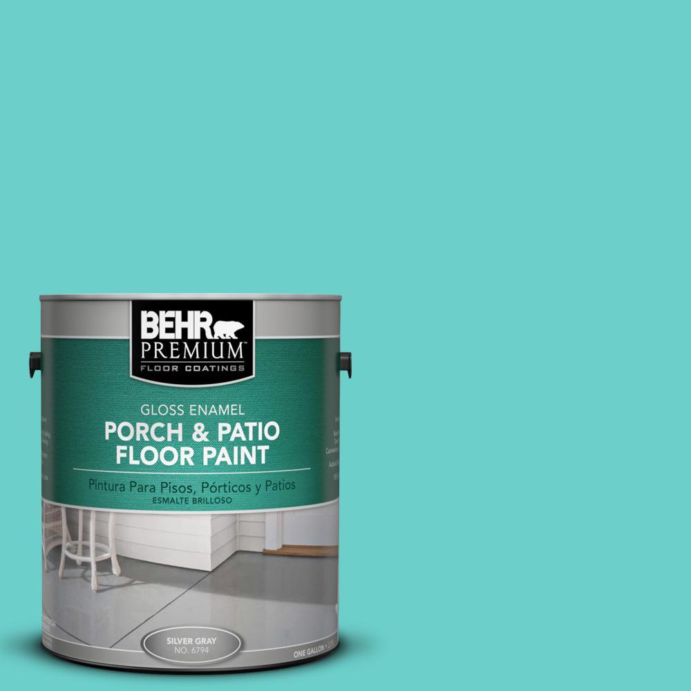 1 gal. #P450-4 Hidden Sea Glass Gloss Interior/Exterior Porch and Patio Floor Paint