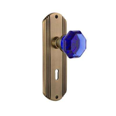 Deco Plate with Keyhole 2-3/8 in. Backset Antique Brass Privacy Waldorf Cobalt Door Knob