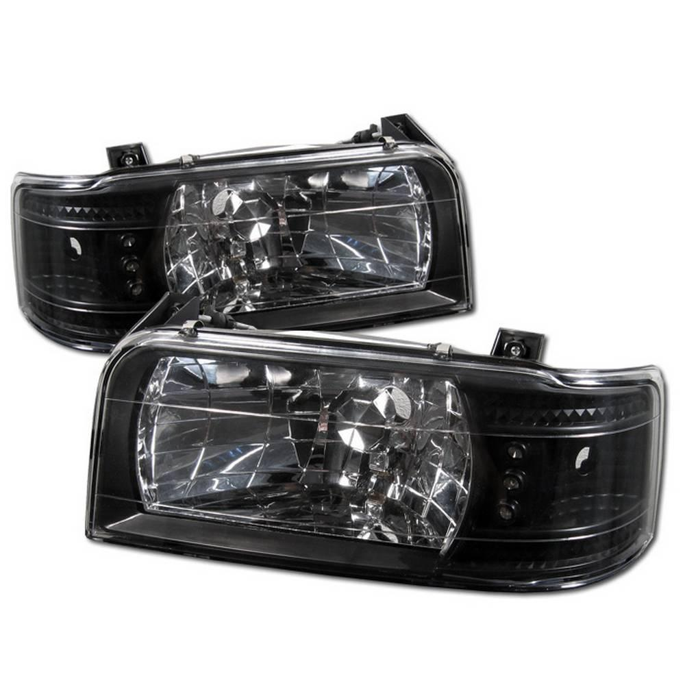 Ford F150 92 96 Bronco 1pc Led Replaceable Leds Crystal Headlights Black