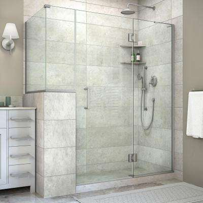 Unidoor-X 60 in. x 40-3/8 in. x 72 in. Frameless Hinged Shower Enclosure in Brushed Nickel