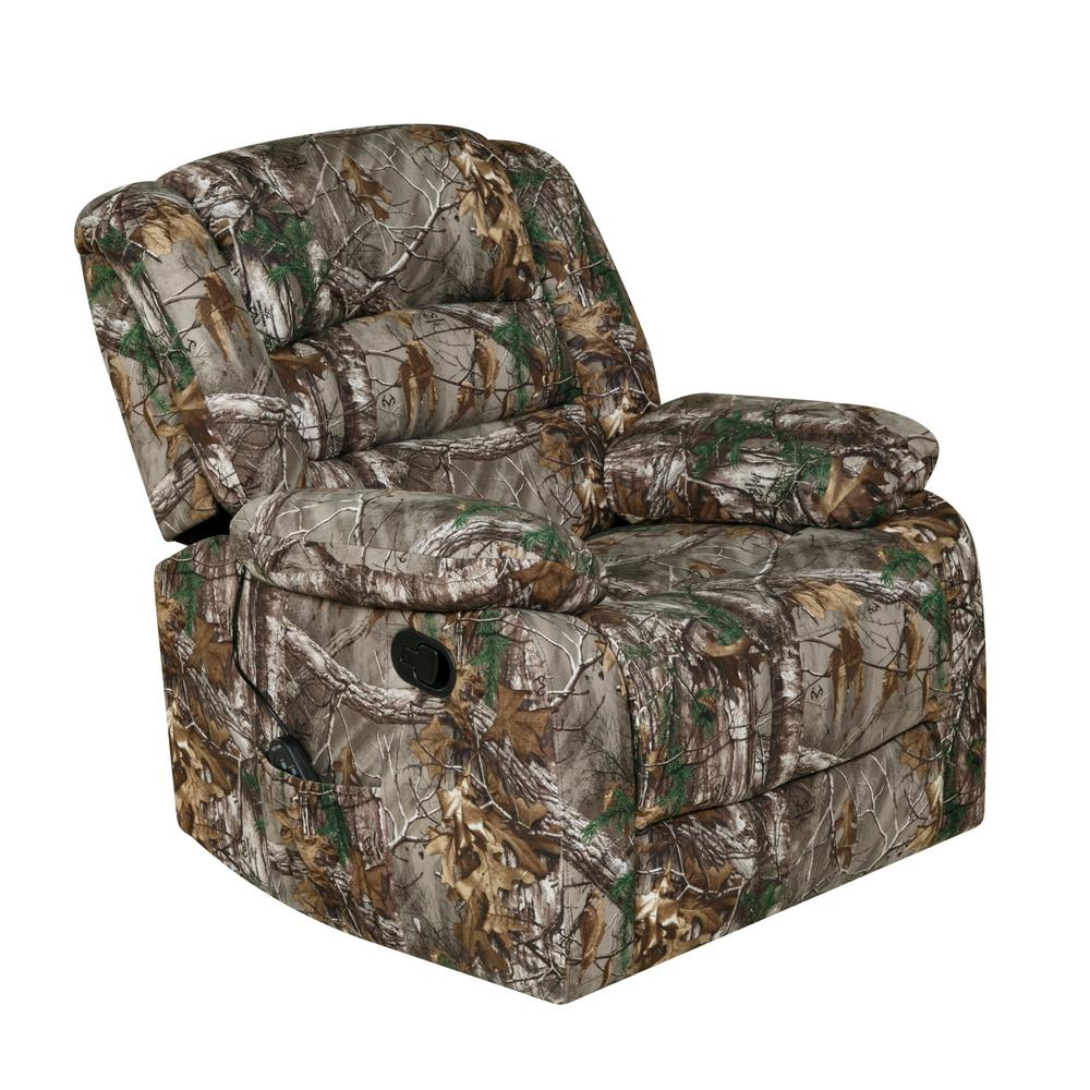Relaxzen Green Rocker Recliner With Heat, Massage, USB, Realtree Camo  Microfiber
