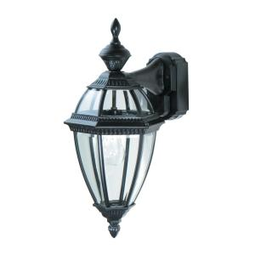 Heath Zenith 1-Light Black Motion Activated Outdoor Wall Mount Lantern by Heath Zenith