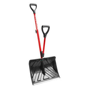 Snow Joe Shovelution 18 inch Strain-Reducing Snow Shovel with Spring-Assist Handle in Red by Snow Joe