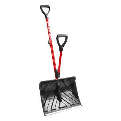 Shovelution 18 in. Strain-Reducing Snow Shovel with Spring-Assist Handle in Red