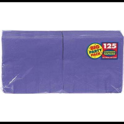 Big Party Pack 6.5 in. x 6.5 in. Purple Paper Birthday Lunch Napkin (125-Count, 4-Pack)