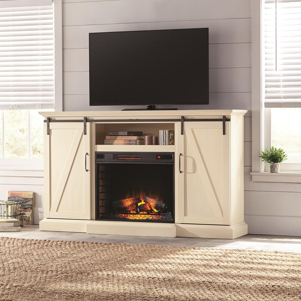 This Chestnut Hill media console with sliding barn doors and an infrared quartz electric fireplace was designed to add ambiance and warmth to your home. The center media shelf and side cabinets include