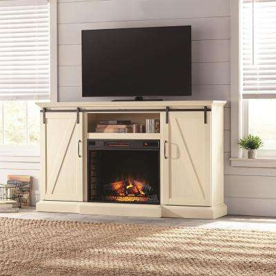 E TV Stand Electric Fireplace With Sliding Barn Door In Ivory