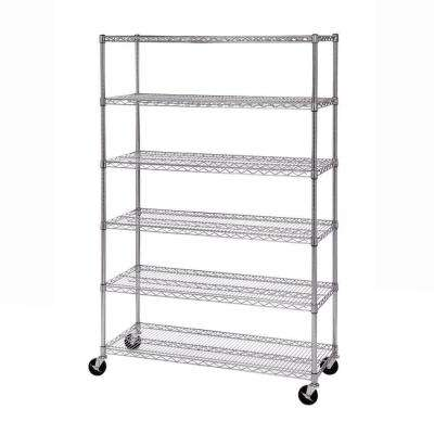 72 in. H x 48 in. W x 18 in. D 6-Shelf Steel Wire Wheeled Shelving System in UltraZinc