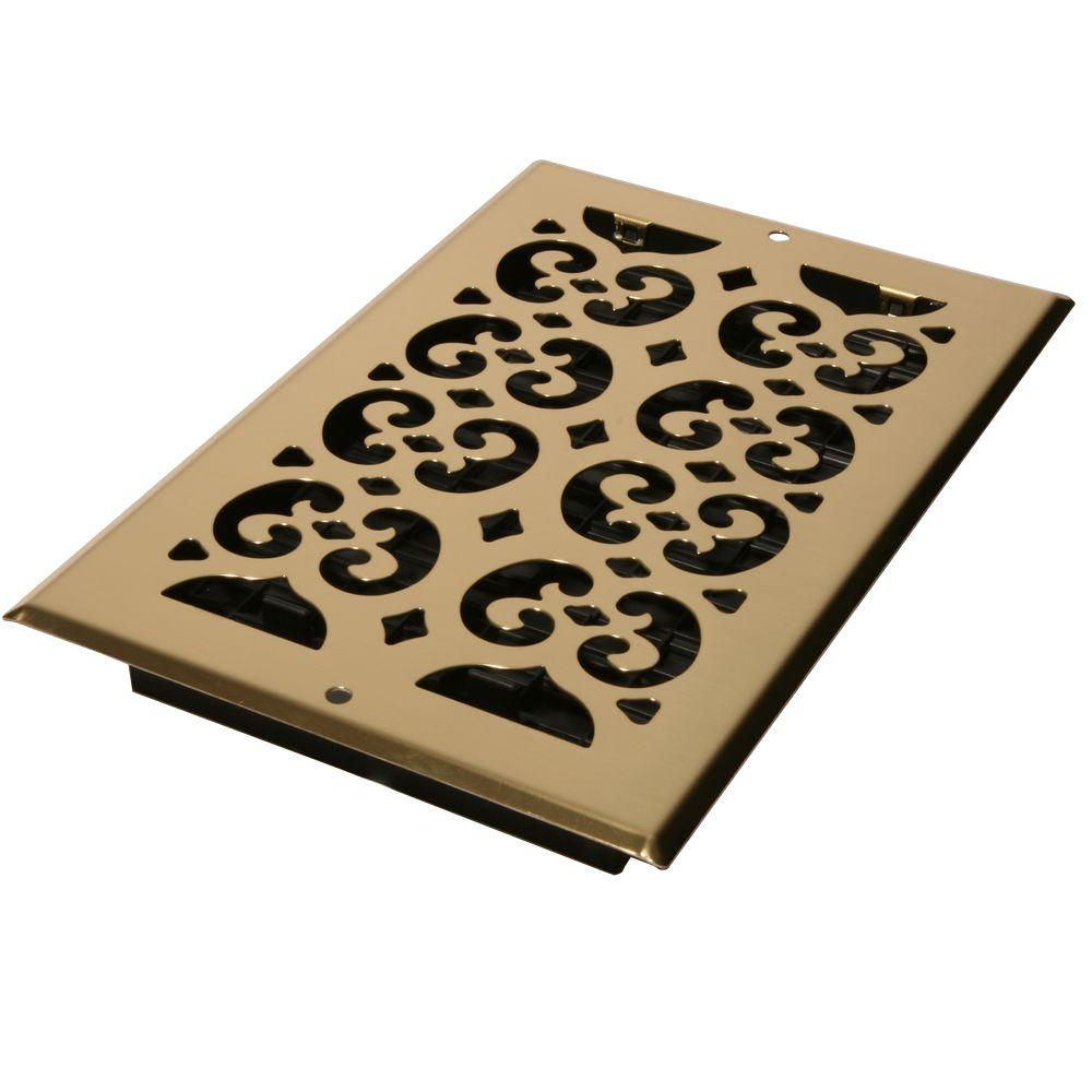 6 in. x 10 in. Bright Brass-Plated Steel Scroll Wall and