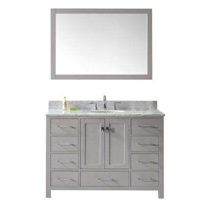 Caroline Avenue 49 in. W Bath Vanity in Cashmere Gray with Marble Vanity Top in White with Round Basin and Mirror