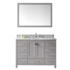 Virtu USA Caroline Avenue 48 inch W x 22 inch D Vanity in Cashmere Grey with Marble Vanity Top in White with White Basin... by Virtu USA