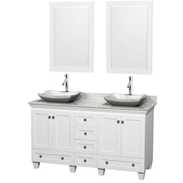 Acclaim 60 in. W Double Vanity in White with Marble Vanity Top in Carrara White, White Carrara Sinks and 2 Mirrors
