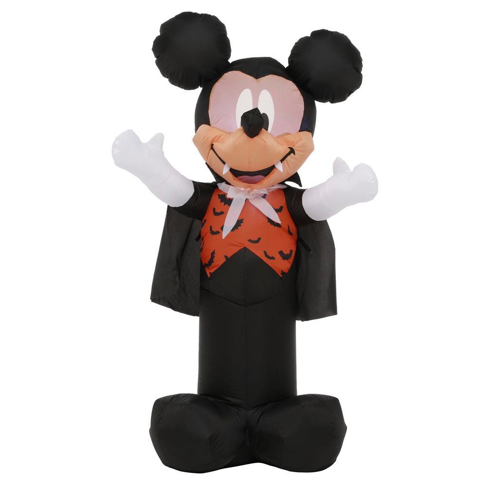 3.5 ft. Pre Lit Inflatable Mickey as Vampire with Orange Bat Vest-Disney Air-Blown