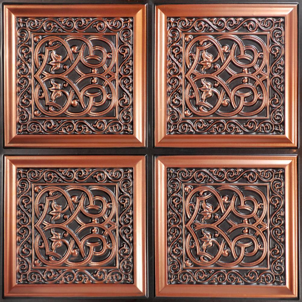 From Plain To Beautiful In Hours Lover's Knot 2 ft. x 2 ft. PVC Glue-up Ceiling Tile in Antique Copper