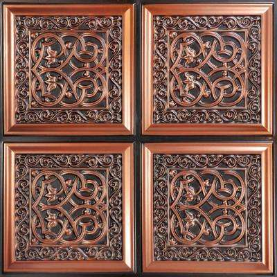 Lover's Knot 2 ft. x 2 ft. PVC Glue-up Ceiling Tile in Antique Copper