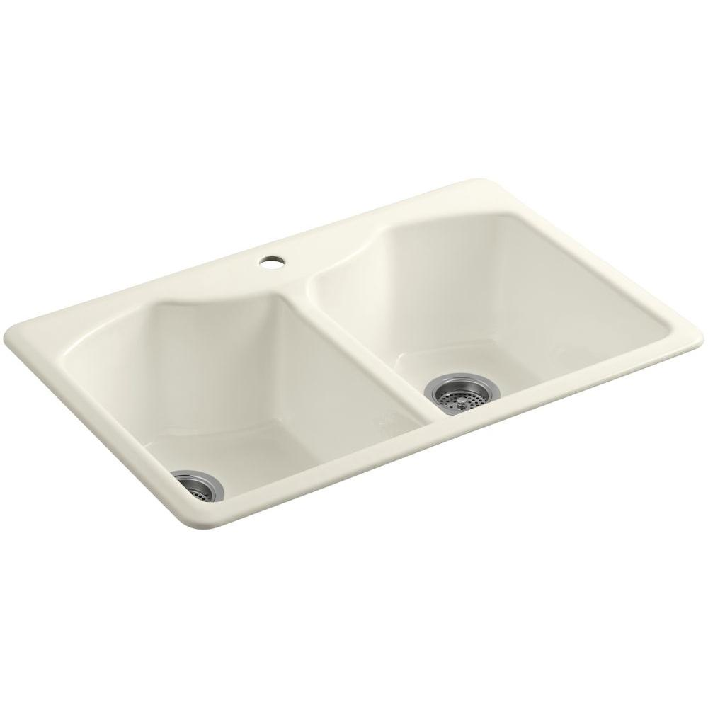KOHLER Bellegrove Drop-In Cast-Iron 33 in. 1-Hole Double Bowl Kitchen Sink with Accessories in Biscuit
