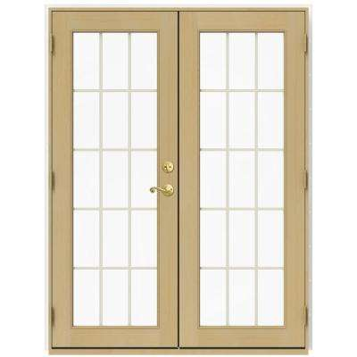 59.5 in. x 79.5 in. W-2500 Brilliant White Right-Hand Inswing French Wood Patio Door