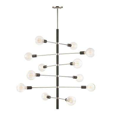 Astrid 12-Light Polished Nickel Chandelier with Black Accents