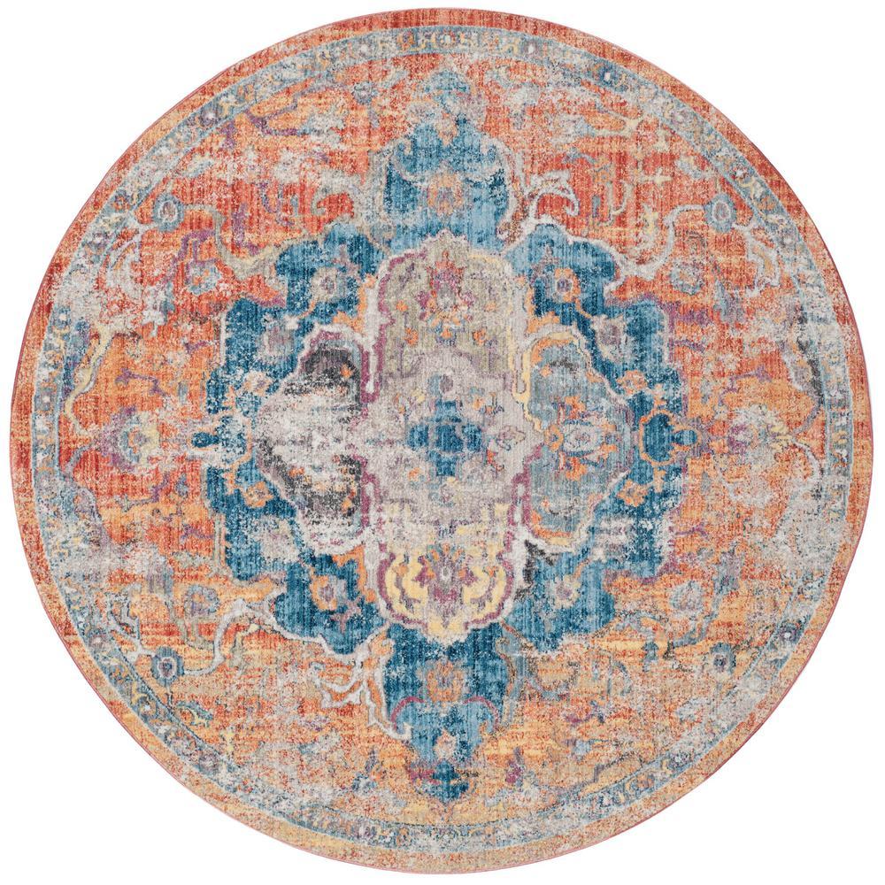 Safavieh Bristol Blue Orange 5 Ft X 5 Ft Round Area Rug Btl350s 5r