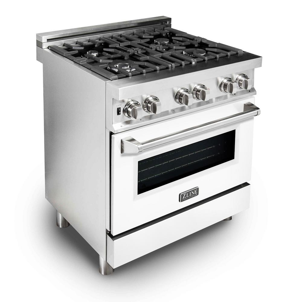ZLINE Kitchen and Bath ZLINE 30 in. Professional Dual Fuel Range with White Matte Door (RA-WM-30)