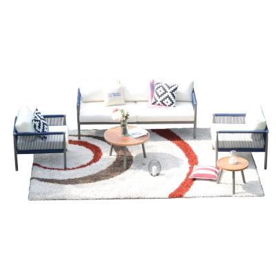 Cathelina 5-Piece Aluminum Outdoor Sofa with White Cushions and Coffee Tables