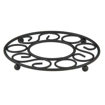 8.5 in. x 8.5 in. x 1.75 in. Black Steel Trivet