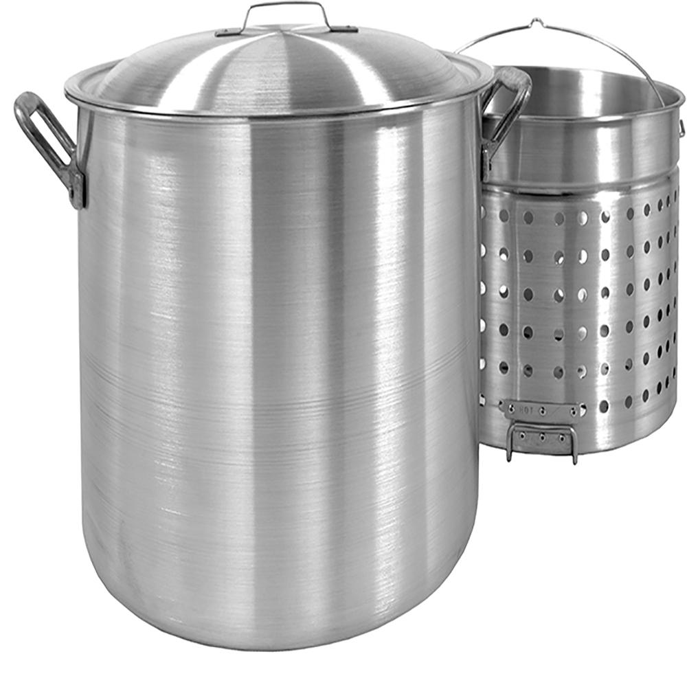 Bayou Classic 120 qt. Aluminum Stockpot with Perforated Basket and Vented Lid