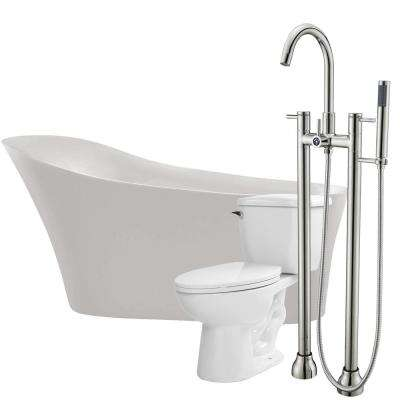 Maple 67 in. Acrylic Flatbottom Non-Whirlpool Bathtub in Glossy White with Sol Faucet and Kame 1.28 GPF Toilet