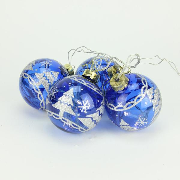 Battery Operated Blue Glass Ball LED Lighted Christmas Ornaments (Set of 4)