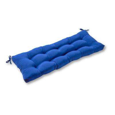Solid Marine Blue Rectangle Outdoor Bench/Swing Cushion