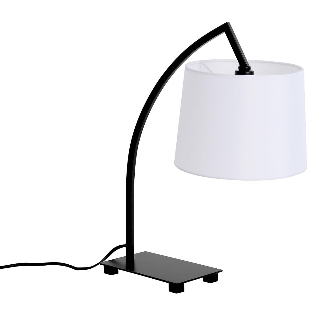Ledpax Technology Bristol 18 in. Black and White Table Lamp with Hanging Shade