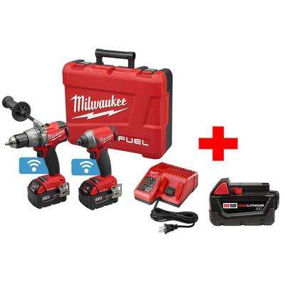 M18 FUEL with ONE-KEY 18-Volt Lithium-Ion Brushless Cordless Hammer Drill/Impact Driver Combo Kit with Free XC Battery