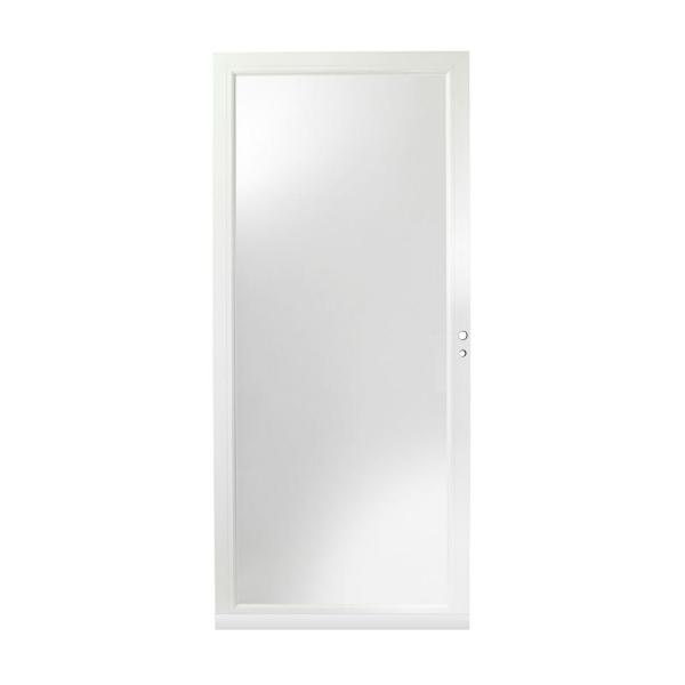 36 in. x 80 in. 3000 Series White Right-Hand Fullview Easy Install Aluminum Storm Door