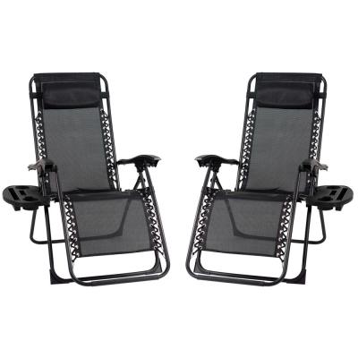Black Metal Outdoor Patio Premier Recliner Gravity Chair (2-Pack)