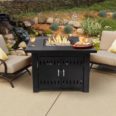 38 in. x 28 in. 40,000 BTU Square Aluminum LPG Propane Gas Patio Heater Fire Pit Table with Weather Cover