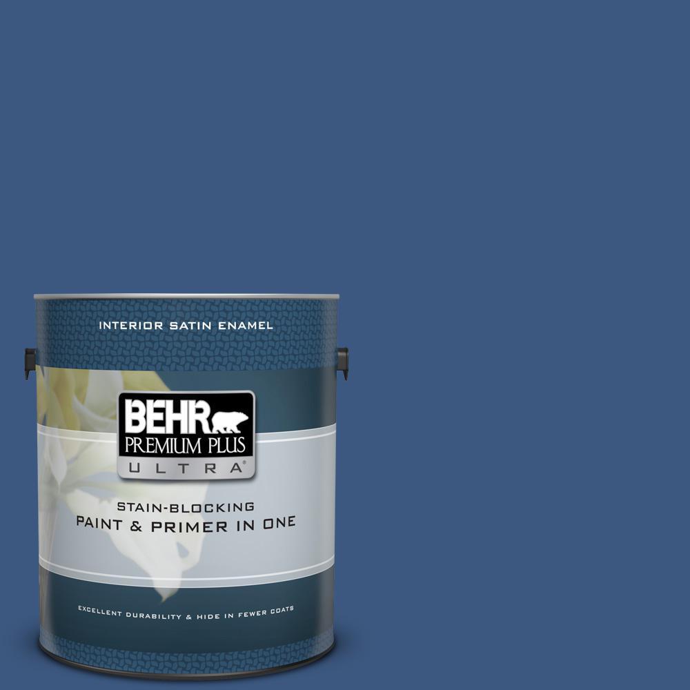 BEHR Premium Plus Ultra 1 gal. #M520-7 Admiral Blue Satin Enamel Interior Paint and Primer in One