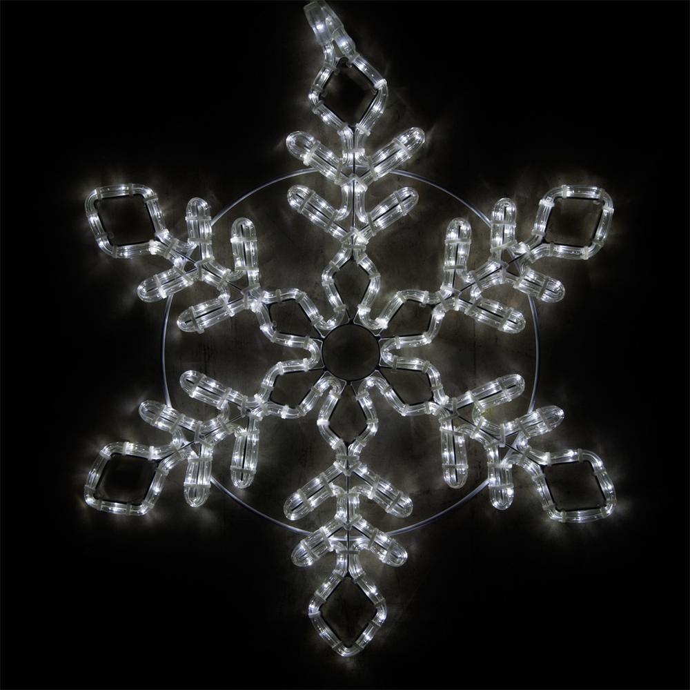 24 in. 236-Light LED Cool White Diamond Branch Hanging Snowflake Decor