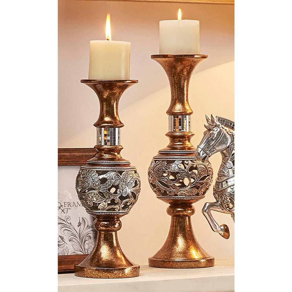 Ore international langi gold silver candle holder set of 2